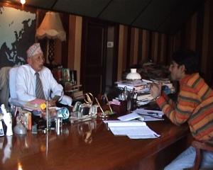 Interviewing Subash Ghisingh at Lalkuti, Darjeeling
