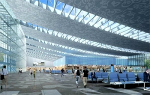 A simulated view of the departure level of the underconstruction new terminal at NSCBI Airport in Kolkata