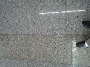 A picture of mismatch: The floor of new passenger terminal at NSC Bose International Airport in Kolkata.