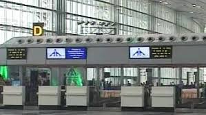 A check-in counter at Kolkata airport
