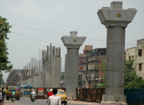A view of the ongoing Joka-BBD Bagh Metro project near Behala.