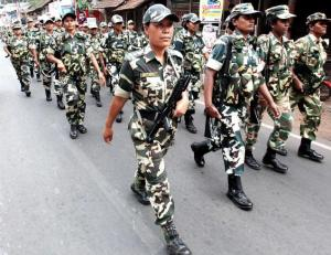 A Central force contingent during a route march.