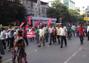 A Left Front protest march at CR Avenue in Kolkata on Tuesday afternoon. The rally was organised to protest the alleged Trinamul Congress attacks on Left supporters in different parts of the city in the run up to Kolkata Municipal Corporation elections on 18 April. This was on a day miscreants lobbed granades at a Congress poll rally in ward no 133 at Metiaburuz area; in this case too Trinamul Congress is the accused.