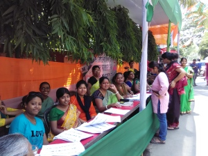 Women cadres at a Trinamul Congress election camp office at Khanpur near Naktala in south Kolkata.