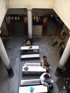 On duty policemen at a polling station at Tiljala.