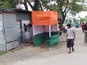 THE STAGE IS SET: A Trinamul Congress poll camp office at Rajpur-Sonarpur Municipality on Friday.