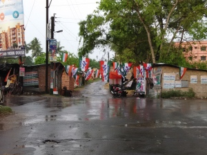 WASHED OUT: A street in Rajpur-Sonarpur Municipality after the rains on poll-day afternoon.