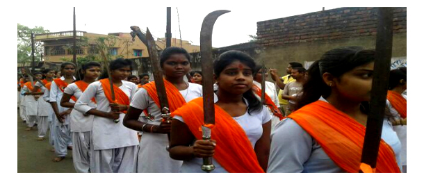 Rare scene in Bengal: RSS frontal organisations hold armed rallies on Ram Navami